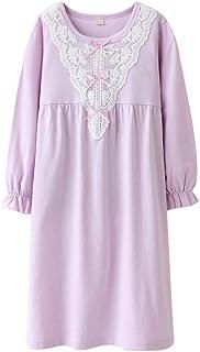 MUKATU Kids Girls Nightgown Princess Cotton Lace Long Sleeve Solid Pajama  Sleepwear Dresses for Girls Purple 90bbd1324