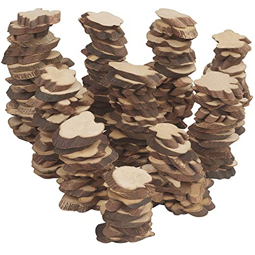 Kurtzy Rondelles Bois Naturel Brut (Lot de 500 g) - 2 à 5,5 cm de Diamètre - Tranches de Bois Brut avec Écorce et Sans Trou - Bois pour Pyrogravure, Artisanat et Décoration de Noël et de Mariage