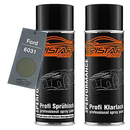 TRISTARcolor Autolack Spraydosen Set für Ford 6031 Bronze Green Basislack Klarlack Sprühdose 400ml