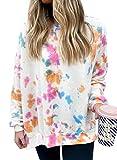 Damen-Sweatshirts mit Batikfärbung, Oversize-Pullover, Graffiti-Druck, langärmelig, Oberteil,...
