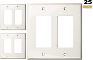 Duralec Electrical Outlet Cover Plate,  Light and Receptacle Switch Wall Covers,  Polycarbonate Thermoplastic,  2 Gang Decorative,  Unbreakable UL Listed Cover Plates With Screws,  25 Pack (304611-White)