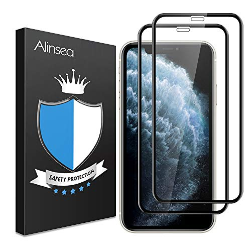 Alinsea [2 Pack] for iPhone 11 PRO Max Screen Protector Tempered Glass, [Undefeatable 9H Hardness] [Anti-Shatter] Full Coverage Tempered Glass Screen Protector for iPhone Xs Max/11 PRO Max