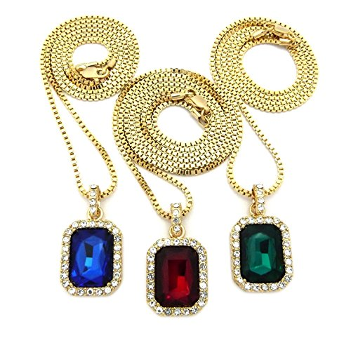 Shiny Jewelers USA Mens ICED Out Hip HOP RED Ruby, Black Onyx Blue & Green Pendant Box Chain Necklace Set of 3 (Red Blue Green)