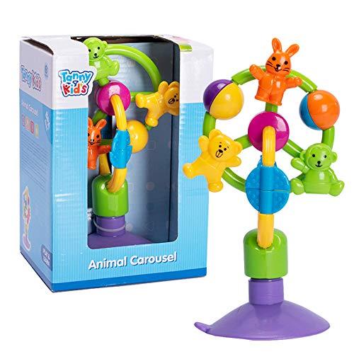 Bebamour Babyspielzeug für 3 Monate+ Tierkarussell Saugspielzeug für Hochstuhl Rassel Spielzeug für Baby Riesenrad Drehrad Windmühle Glocke Kleinkind Spielzeug Kinder Kinderspielzeug
