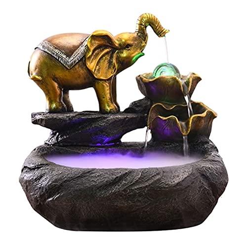 WBDZ Fuentes de Interior, Fuente de Mesa de Resina de Fuente de Interior de Elefante con Fuente de Cascada de humidificador tomizado de luz LED para decoración