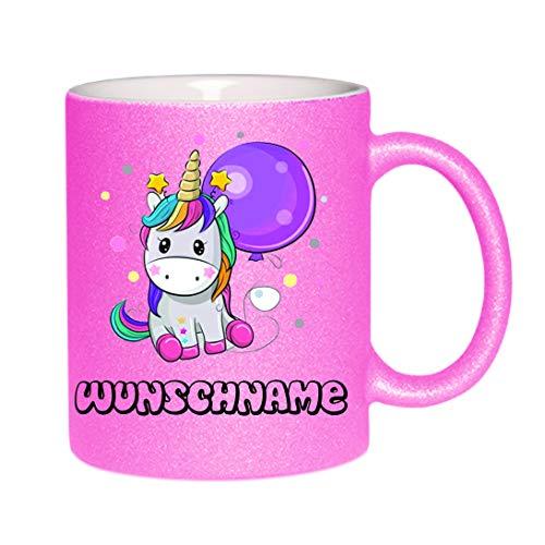 Crealuxe Glitzertasse (Pink) Einhorntasse (Wunschname) - Kaffeetasse, Bedruckte Tasse mit Sprüchen oder Bildern, Bürotasse,