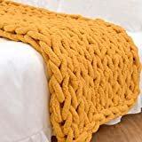 Abound Chunky Knit Throw Blanket - 50'x60' - Beautiful Home Decor - Soft Chenille Yarn - Couch, Bed, Pet Mat, Baby Blanket, Gift - Machine Washable [Navy/Purple Grey/Slate Grey/Beige/White/Yellow]