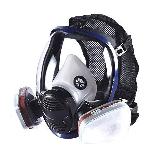 YQWE Gasmaske Vollgesichtsaugenschutz Maske mit Dual-Filterlüfter verstellbaren Riemen, Organic Vapor Vollmaske mit Visier Schutz für Paint
