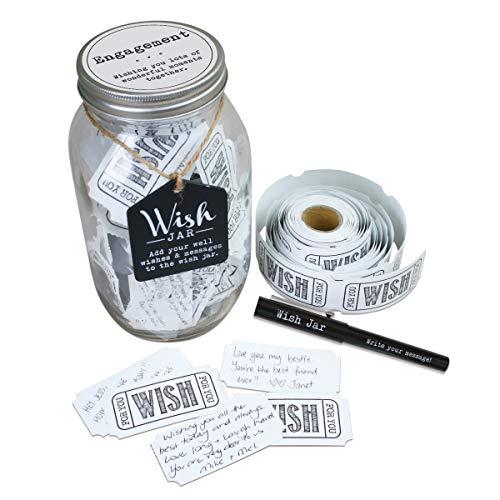 Top Shelf Glückwünsche-Glas zur Verlobung, Set mit 100Zetteln & dekorativem Deckel