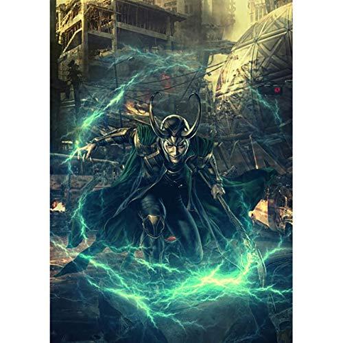 Plena cuadrada, perforación, diamante Thor 1 Loki Le Monde Oscuro, película bordada a mano 5D, bricolaje fotos, punto de cruz, regalo para decoración del hogar 40 x 50 cm Diamond YN3455