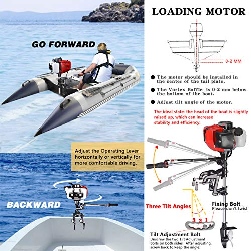 Yaheeda 2 Stroke Boat Motor, New 3.6 HP Boat Engine Outboard Boat Motor Water Sports Inflatable Fishing Boat Engine with Air Cooling CDI System System for Superior Corrosion Protection