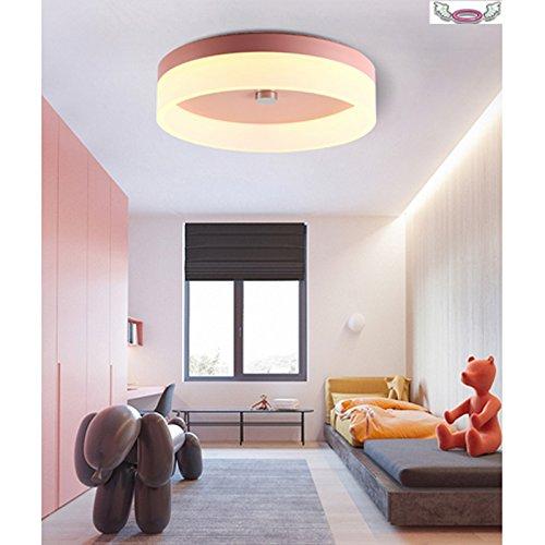 Nordic Simple LED Plafonnier Fer Acrylique Chambre Lumière Ange Halo Maccaron Plafond Lampe Jaune Chaude Lumière φ30 cm (Fille en poudre)