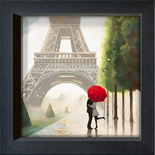 International Graphics - Carte postales encadrées - Marco, Fabiano - ''Paris Romance II''- 16 x 16 cm - Cadre disponible en 4 couleurs – Couleur du cadre: Noir - Série LUNA
