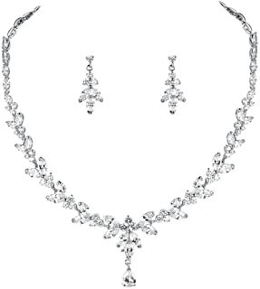 WeimanJewelry Cubic Zirconia Necklace and Earring Wedding Bridal Jewelry Set in Rhodium Silver Plated