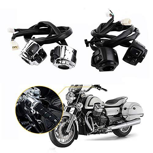 ZXLLNEUR Motorcycle 25mm Diameter stuur aansturen schakelaar Meld Promiscuous met kabelboom for Harley Switches Accessaries (Color : Black)