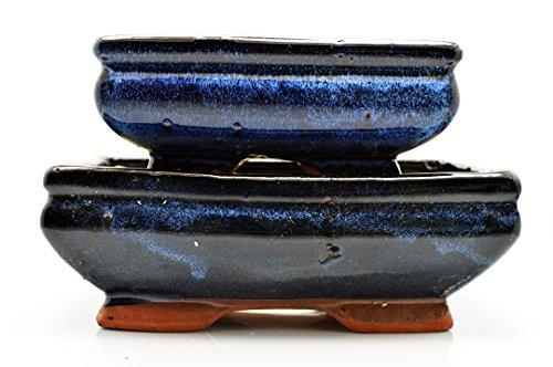 9GreenBox - 2 Ceramic Bonsai Pots 6/8