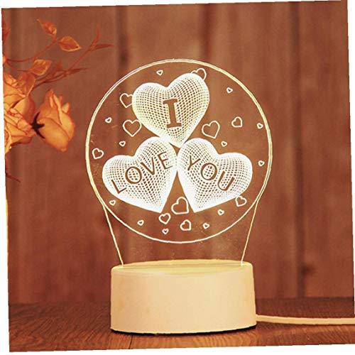 3D USB Acryl-Nachtlicht Liebe Form Desktop-Flitter-Glowing warme weiße Lampe, Tisch, Schreibtisch Ornament Schlafzimmer Büro-Dekor-Geschenk-Beleuchtung Zubehör