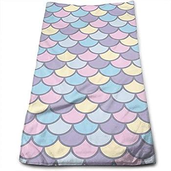 N/W Purple Blue Mermaid Tail Hand Towels for Bathroom 27.5   X 12   Soft Microfiber Towel Colorful Fish Scale Small Bath Towels Kitchen Dish Towel