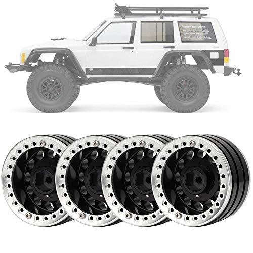 4 Stücke 1,9 Zoll Beadlock Felge Radnabe, Zubehörteil für SCX10 1/10 RC Crawler Car(schwarz Silver)