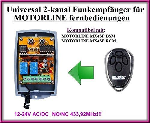 Motorline compatibele radio-ontvangermodule in de behuizing, 2-kanaals universele ontvanger voor Motorline MX4SP DSM / Motorline MX4SP RCM afstandsbedieningen. 12-24 V AC/DC, NO/NC 433,92 MHz rolling/vaste code