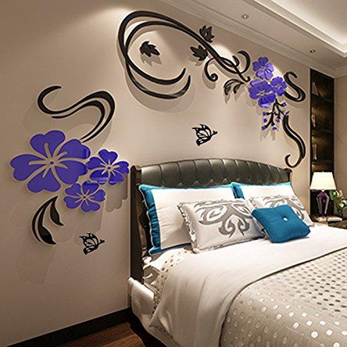 AungAoo Fleur Vine Tridimensionnelles 3D Stickers Chambre Canapé Acrylique Plat Mur À L'Arrière-Plan Stickers Décoratifs Noir,Bleu,Direction Générale De Droit Supérieur Grand