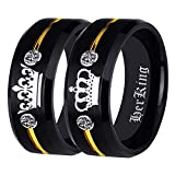 Free Custom Engraving Matching Couples Her King and His Queen Ring Set in Black Tungsten Carbide Rings With Two White CZ- His and Hers for Promise Wedding Jewelry (Her King, 13)