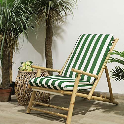 TIENDA EURASIA® Cojines para Sillas de Terraza - 10 Colores - Cojín Acolchado Relleno de Fibra - Medidas 120 x 50 x 10 cm (Rayas Verde)