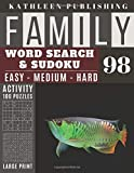 Family Word Search and Sudoku Puzzles Large Print: 100 games Activity Book Green Dragon Fish | WordSearch | Sudoku - Easy - Medium and Hard for ... | Made in USA Vol.98 (Family activity book)