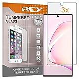 REY 3X Protector de Pantalla para Samsung Galaxy NOTE10+ - Note 10 Plus, Cristal Vidrio Templado Premium