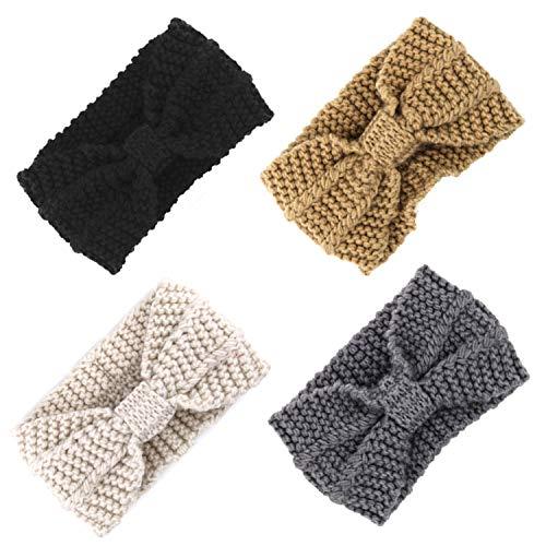 Fascigirl 4 stuks dames hoofdband bow haakwerk haarband zwart hoofdband voor winter sport