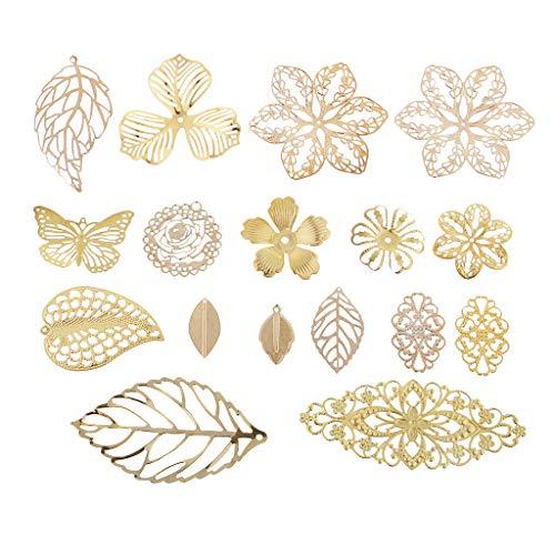 Baoblaze 17 Piezas de Filigrana de Metal Deja Encantos de Flores Colgantes Hallazgos de Joyas de Oro