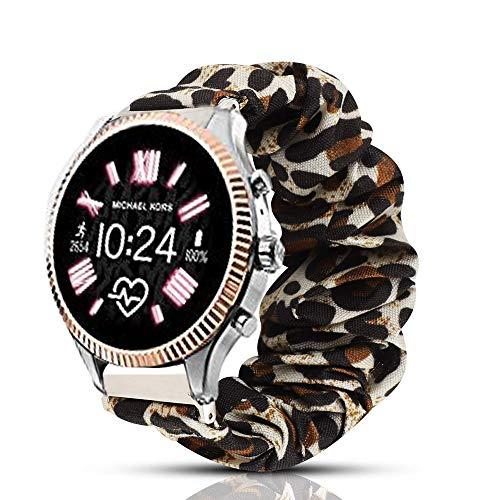Compatible for Michael Kors Lexington Band, Blueshaw Fabric Elastic Scrunchie Elastic Watch Band Women Cute Replacement Straps Compatible for MK Access Gen 5 Lexington Smartwatch (Leopard Print)