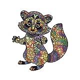 GUO Puzzle De Madera Rompecabezas con Forma De Animal Mapache Artesanía Creativa Ideal para La Colección De Juegos Familiares,M
