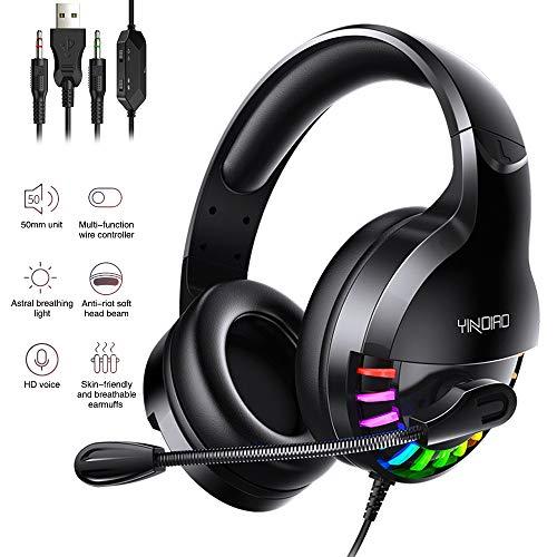 Bizcasa Gaming Kopfhörer, Gaming Headset mit Mikrofon LED Licht 3.5 mm Stecker Luftdurchlässige Ohrenschützer Over-Ear Kopfhörer für PC, Smartphones, Tablets, Laptops