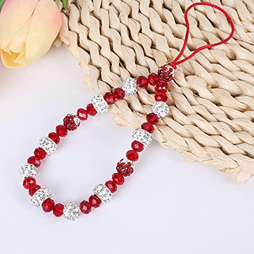 Shellnail Mobile Phone Lanyard Short Hand Strap for Key USB Diamond Bracelet Phone Case Flower Pendant DIY Tassel Phone Straps,red,no