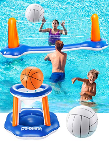 """DG-Direct Inflatable Pool Game Set, 118' Inflatable Volleyball Net Basketball Hoop and Balls Set for Kids & Adults, Swimming Game Toys Summer Floats for Water Sports Pool Party-118 x37.4""""x28"""""""
