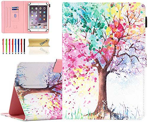 Universal 8.0 inch Tablet Case, Dteck Stand Folio Flip Wallet Case for iPad Mini 7.9'/ Galaxy Tab 8.0 /Fire HD 8/ Nextbook Tagital/Dell/HP/LG G Pad and More All 7.5-8.5 inch, Colorful Tree