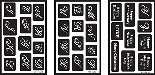 Armour Products Over 'n' Over Reusable Glass Etching Stencils 5in. x 8in. 3/pkg