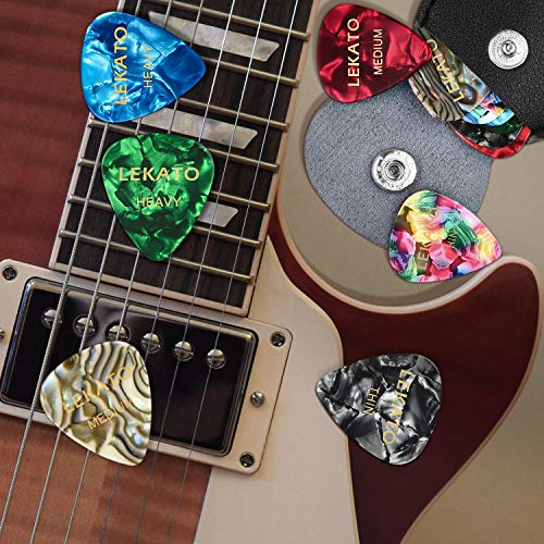 ギターピックカラフル18枚セットそれぞれ厚さピックバッグ付き多種多色(ブラック)