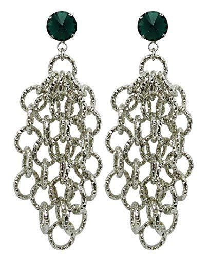 EMERALD RING - Orecchini mady in Italy, senza buco, 5 pendenti catena colore Argento, con clip cm. 1,2 con Swarovski elements Verde Smeraldo, nickel free, lunghezza totale cm. 9,5