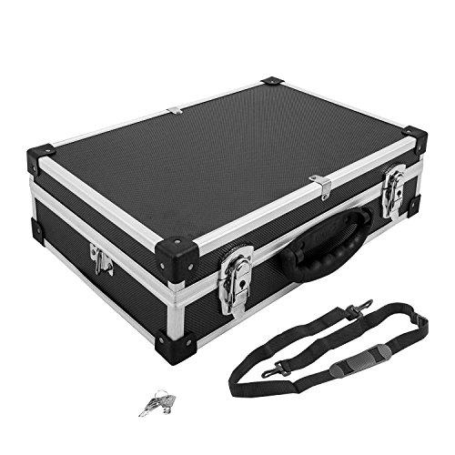 Alukoffer Alukiste Koffer Werkzeugkiste schwarz inkl. Tragegurt + Schlüssel