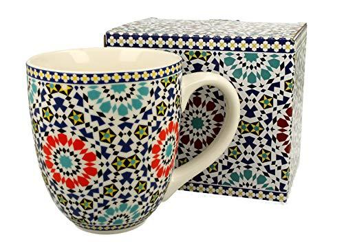 Duo Jumbotasse Becher XXL Marokko folkloristische Deko 900 ml Porzellan Trinkbecher Smoothie Becher Geschenk Büro Tasse für Kaffee Teetasse Cappuccino Kaffeebecher Jumbo-Tasse Riesentasse XXXL