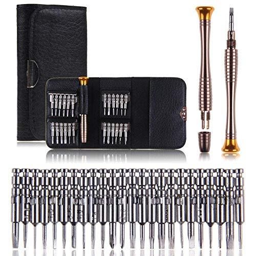 CHENC Schroevendraaier Tool, 25 in 1 Kleine Precisie Schroevendraaier Set met 24 Specialty Bit Set voor Bril Eyeglass Horloge Laptop Mobiele Telefoon Reparatie