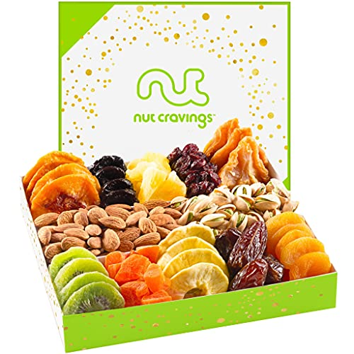 Dried Fruit & Nut Gift Basket in White Box (12 Piece Assortment) - Fathers Day Prime Arrangement Platter, Birthday Care Package Variety, Healthy Food Kosher Snack Tray for Mom, Women, Men, Adults