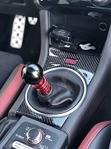 TufSkinz | Manual Shifter Accent - Fits 2015-2020 WRX STI - 2 Piece Kit in Real Carbon Fiber(Domed)