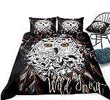 DCPPCPD 3D Bedding Set Printed,Pattern Dream Catcher Owl Animal,Bedding Set Print Comforter Set Full King Size Duvet Cover Pillow Cases,Us King 264Cmx228Cm