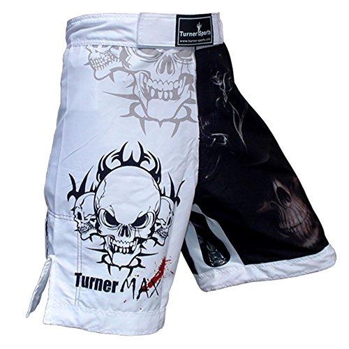 TurnerMAX MMA Shorts, Black/White, Sublimation, Small