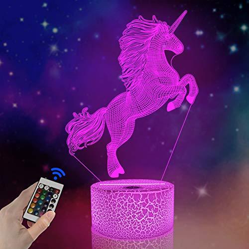 FULLOSUN - Lámpara LED de proyección de unicornio 3D, diseño de unicornio para habitación de niños, decoración del hogar, regalos de cumpleaños con 7 colores cambiantes, Unicorn 3