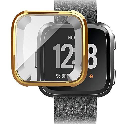 MMLC Fitbit Versa Hülle, Vollschutz Display Schutzhülle Zubehör Cover für Fitbit Versa Smartwatch (Gold)