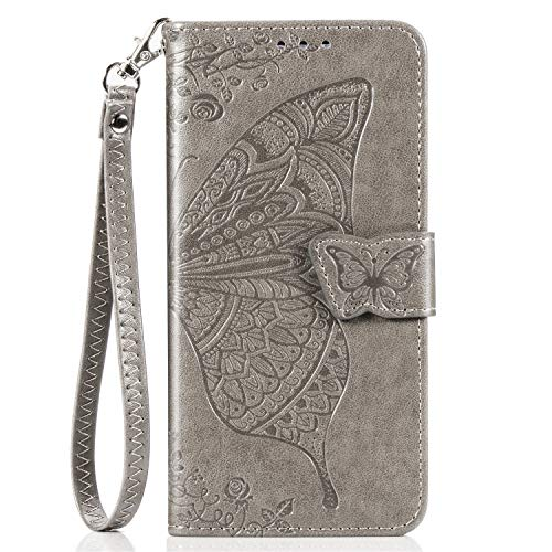JZ Butterfly & Flower Funda For para LG K10 2018 / K30 / K11 / K10+ / Premier Pro Embossed Series Wallet Flip Cover with [Wrist Strap] - Gray